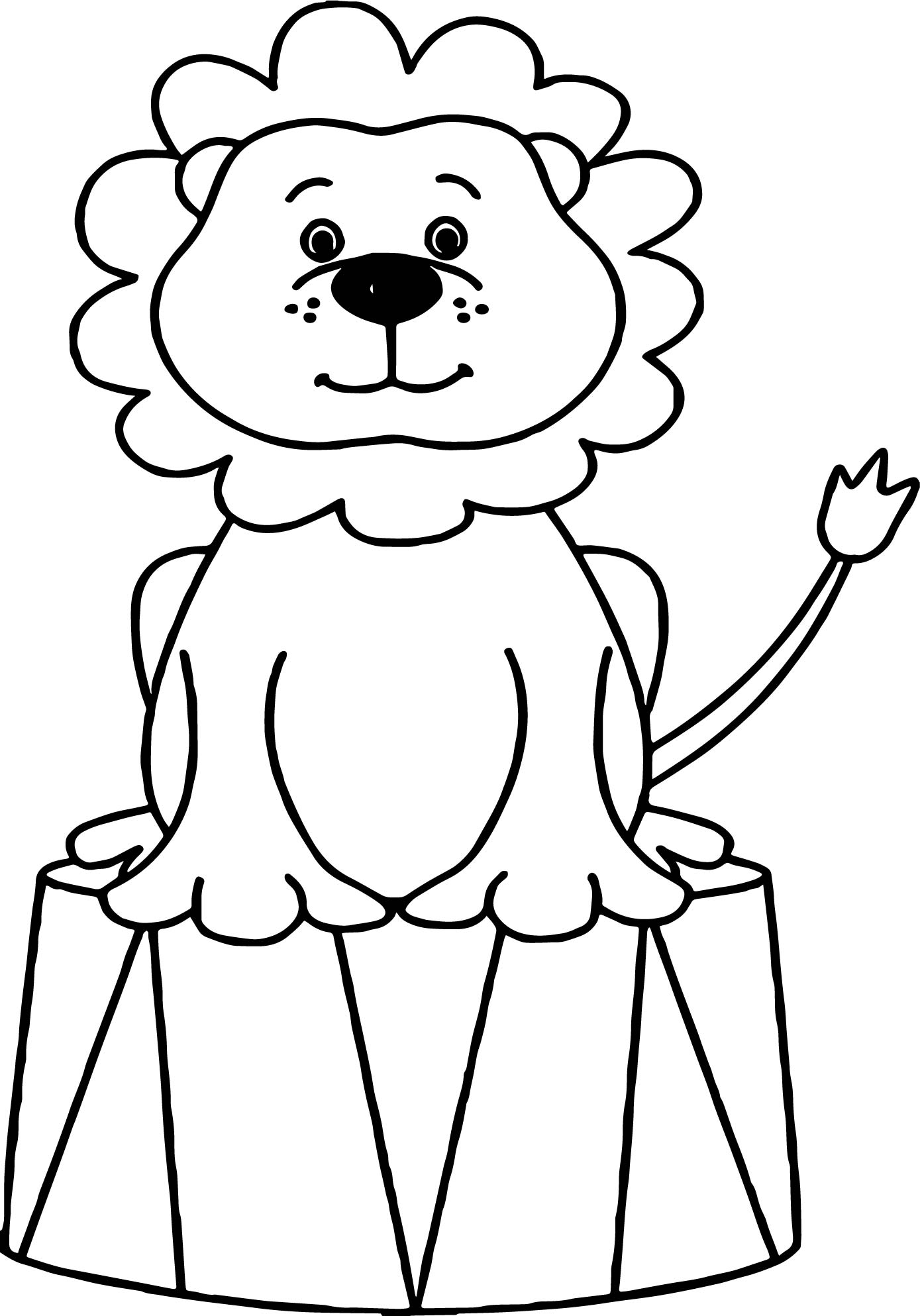 Lion Circus Animals Coloring Page