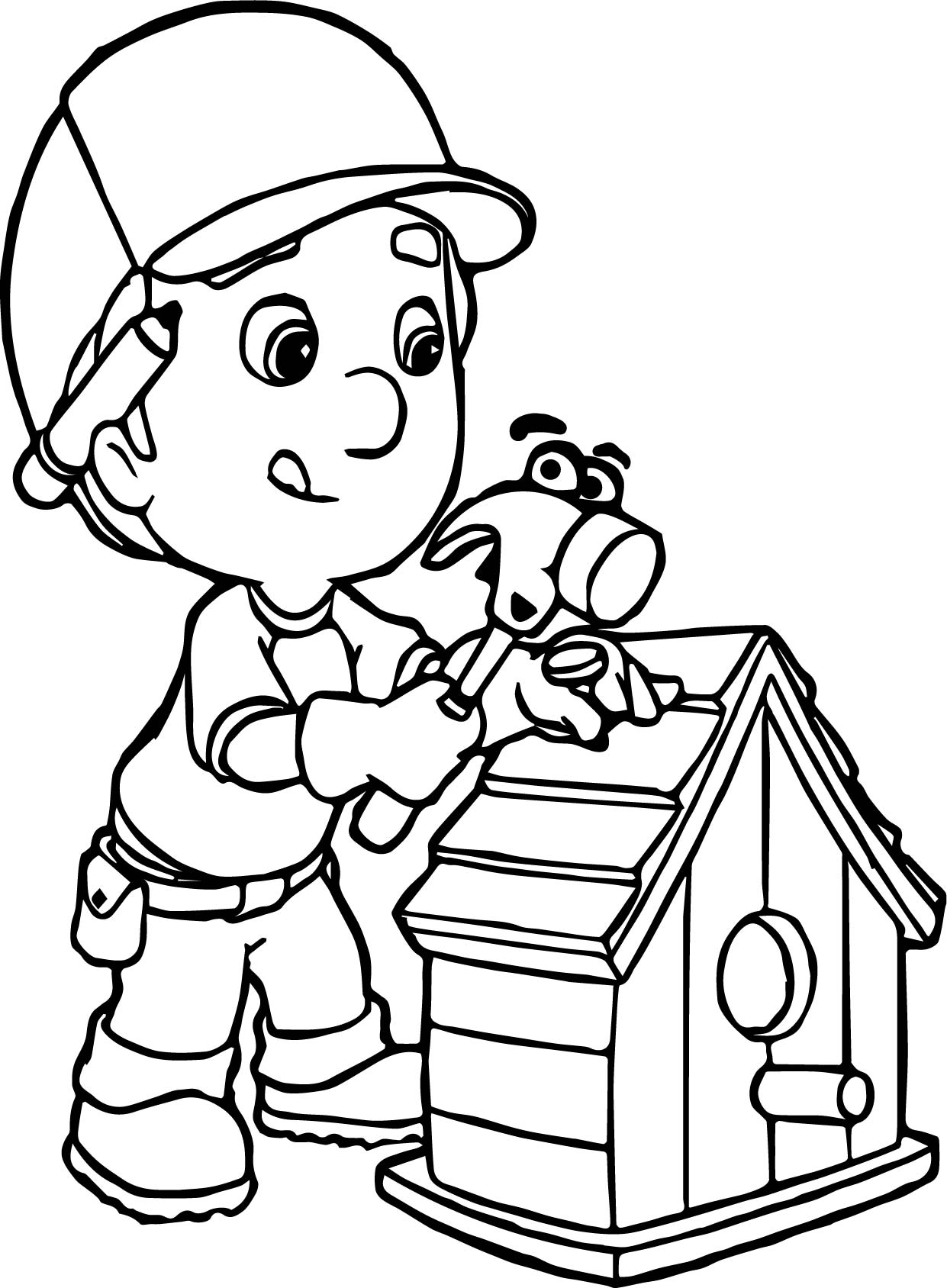 Manny And Pat Fixing A Bird House Coloring Page