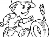 Manny Run Tire Coloring Page