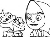 Masha Frog Love Coloring Page
