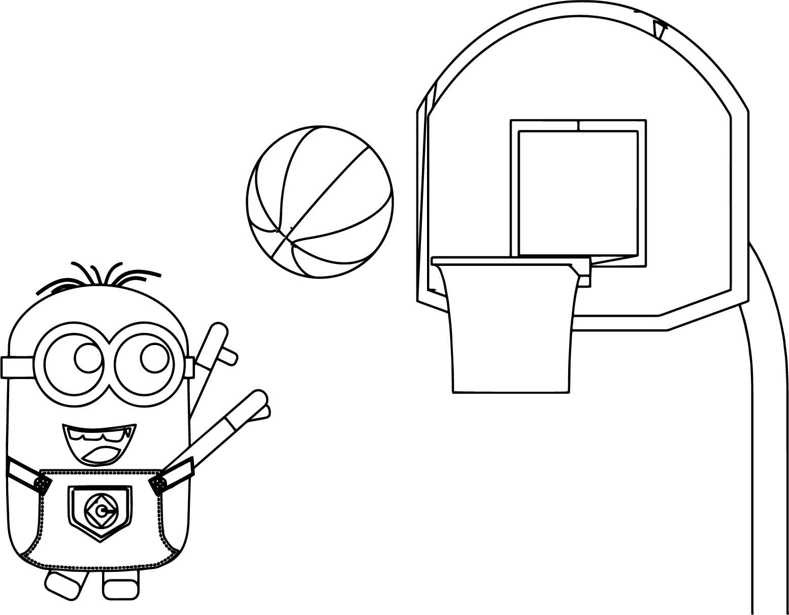 Minion Playing Basketball Coloring Page Wecoloringpage