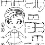 Minnie Doll And Clothes Cartoon Coloring Page