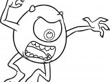 Monster University Mike Scaring Coloring Pages
