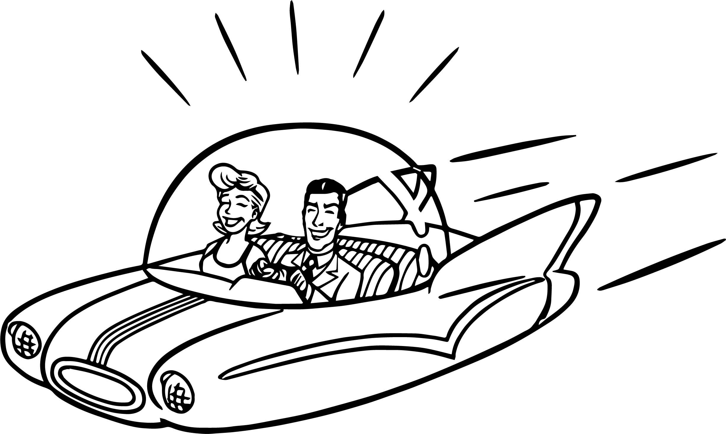 new jetsons flying car space driving man and woman coloring page
