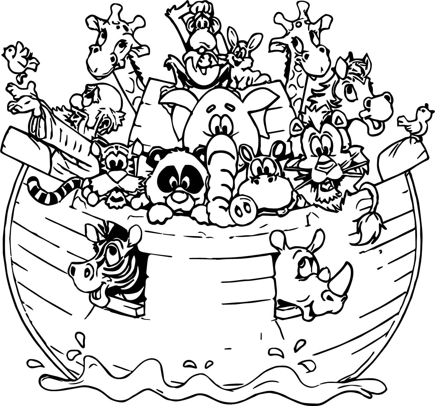 Noah ark all animal coloring page for Noah ark coloring page