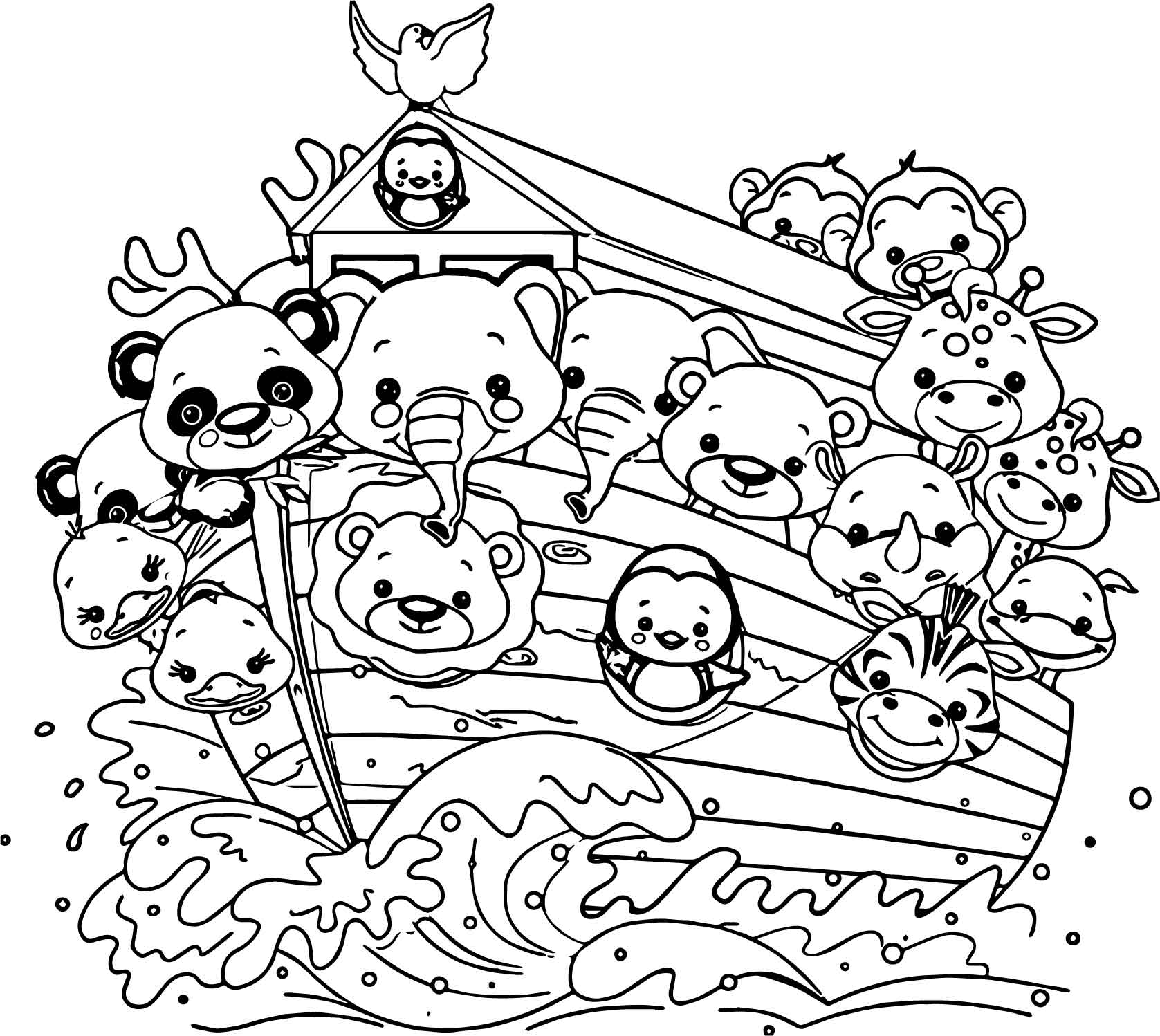 Noah ship cartoon coloring page for Noah s ark printable coloring pages