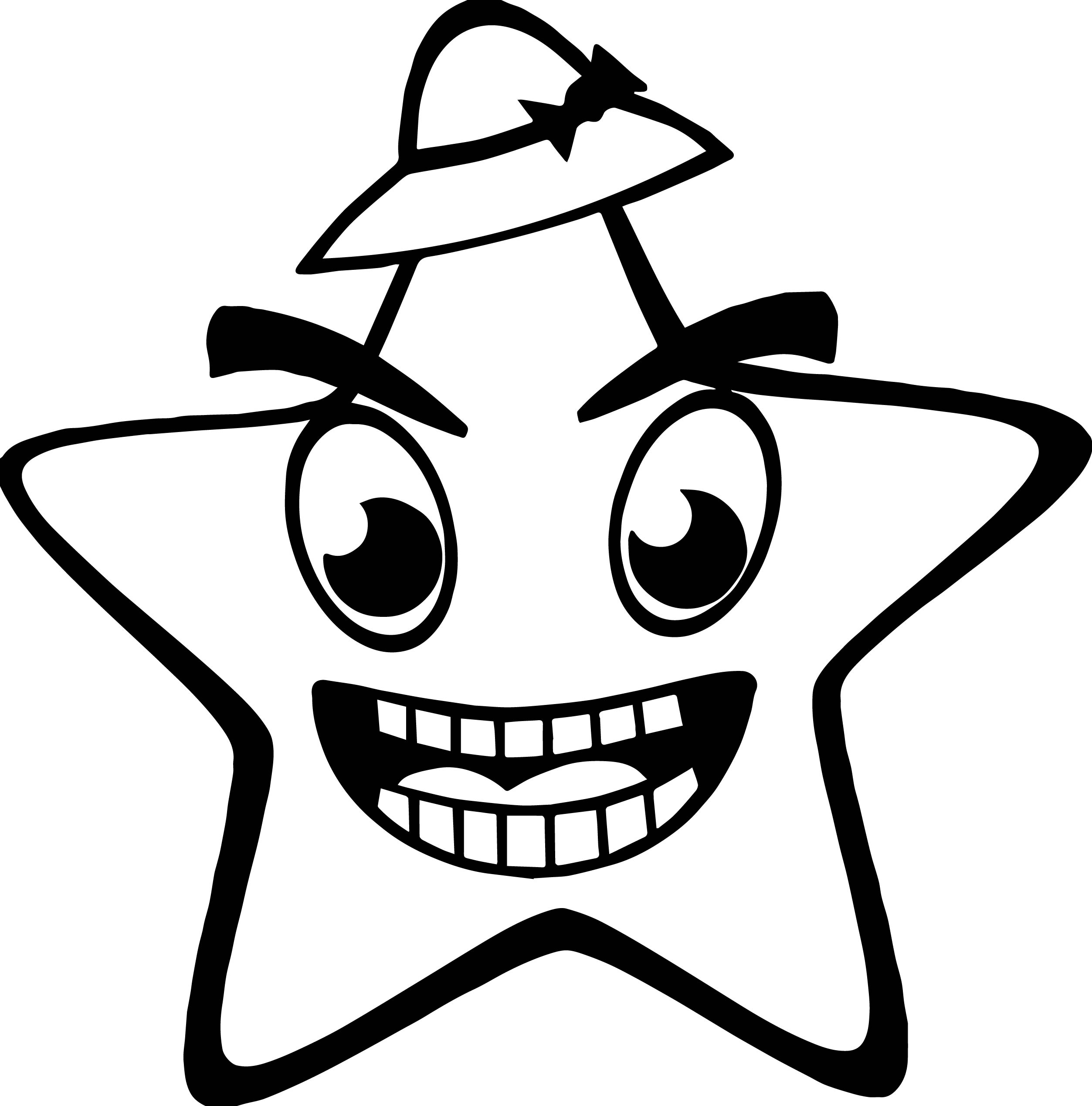 On Hat Happy Star Coloring Page