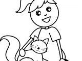 Pet Sitting With Cat Coloring Page