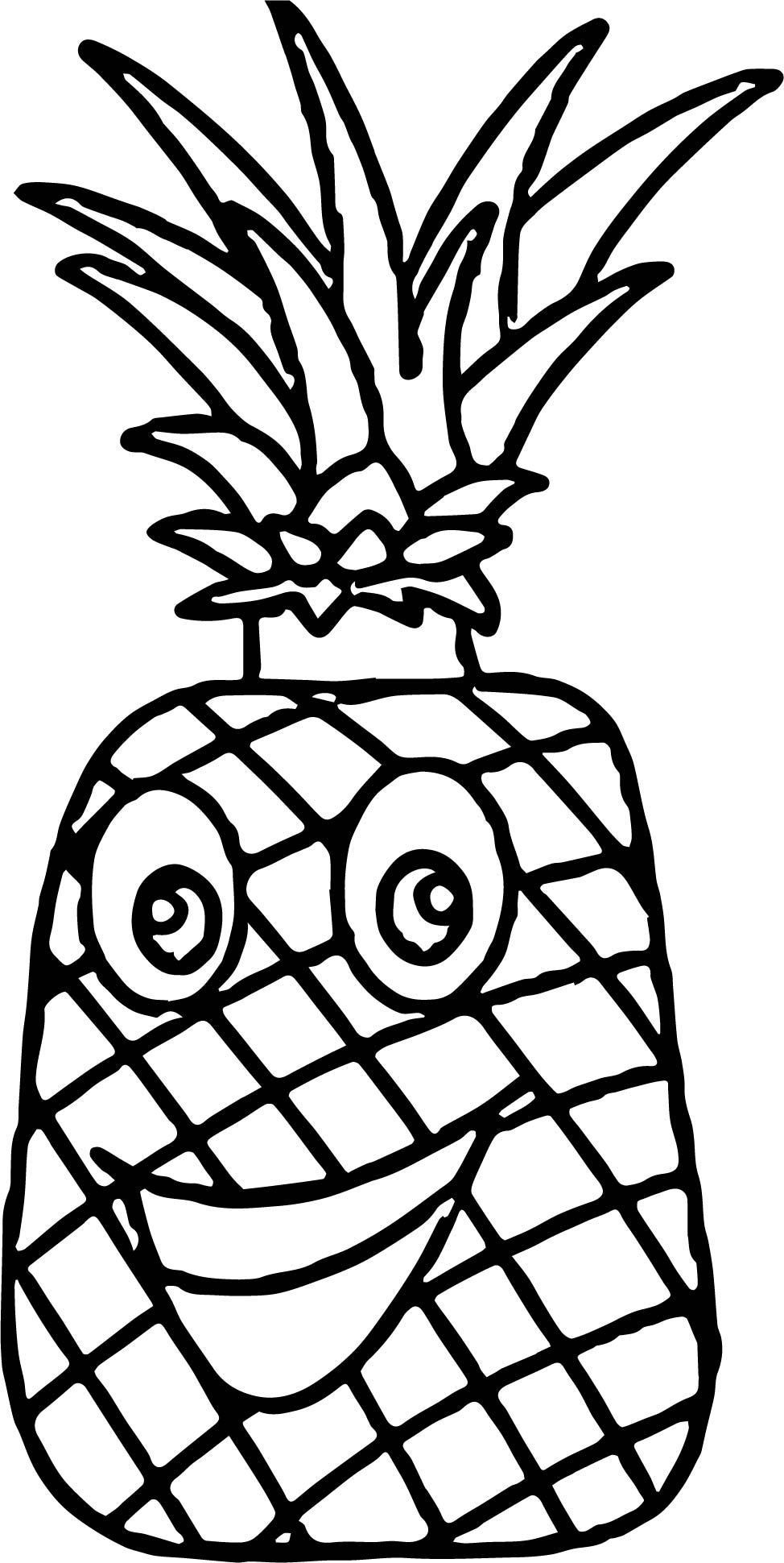 Pineapple Characters Cartoon Coloring Page