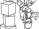 Pinocchio Doing Blocks Coloring Page