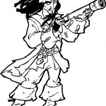 Pirates of the Caribbean Man Character Jack Sparrow Gun Coloring Page