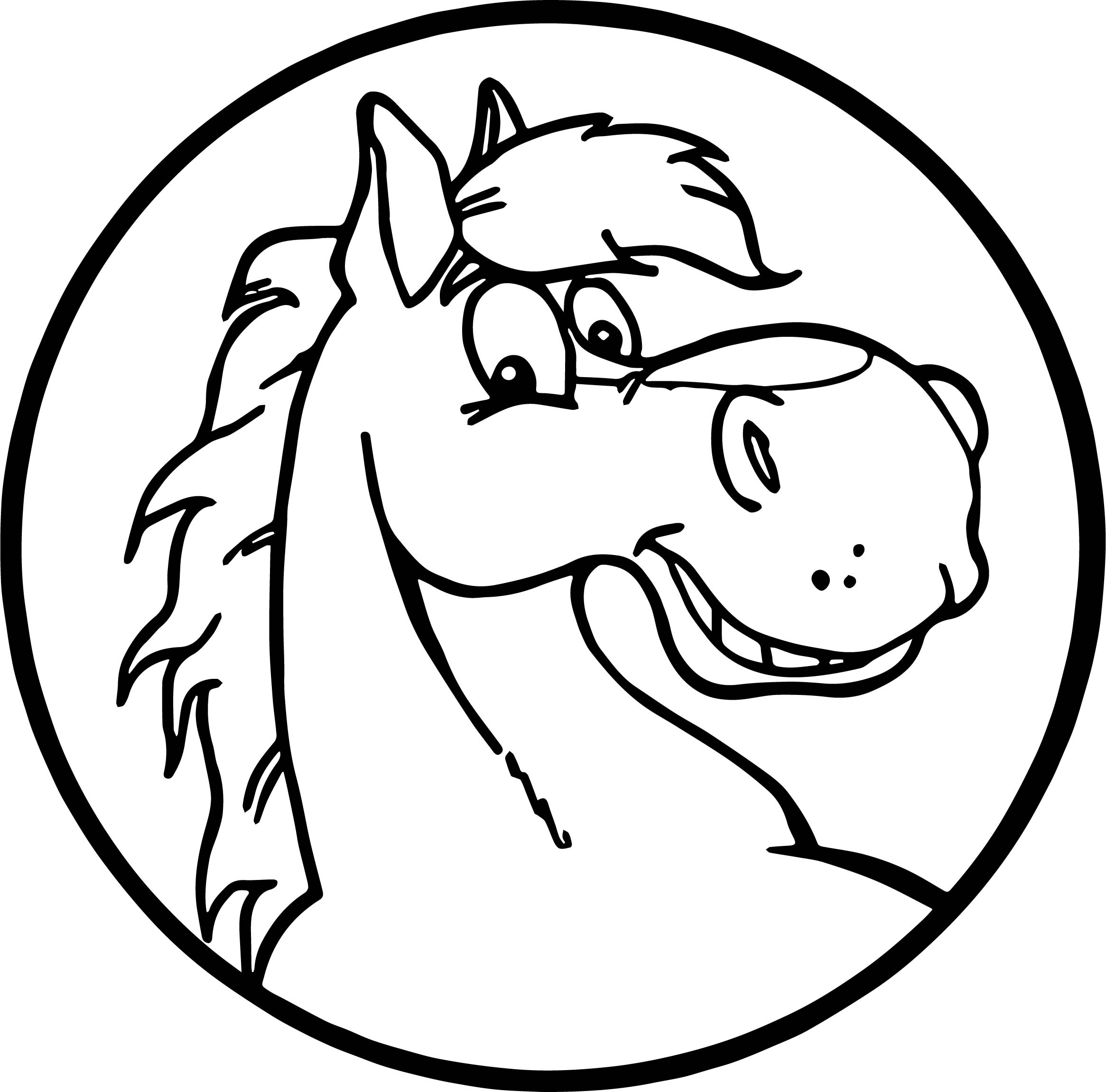 Proud Stallion Cartoon Horse Coloring Page