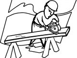 Sawing Carpenter Coloring Page
