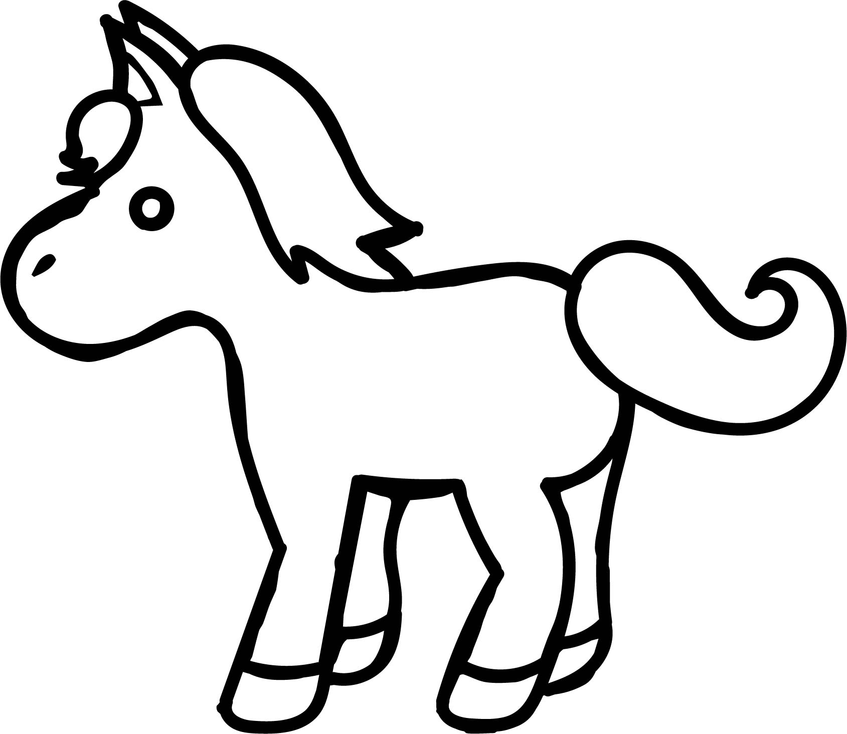 horse pages to color - small cartoon horse coloring page