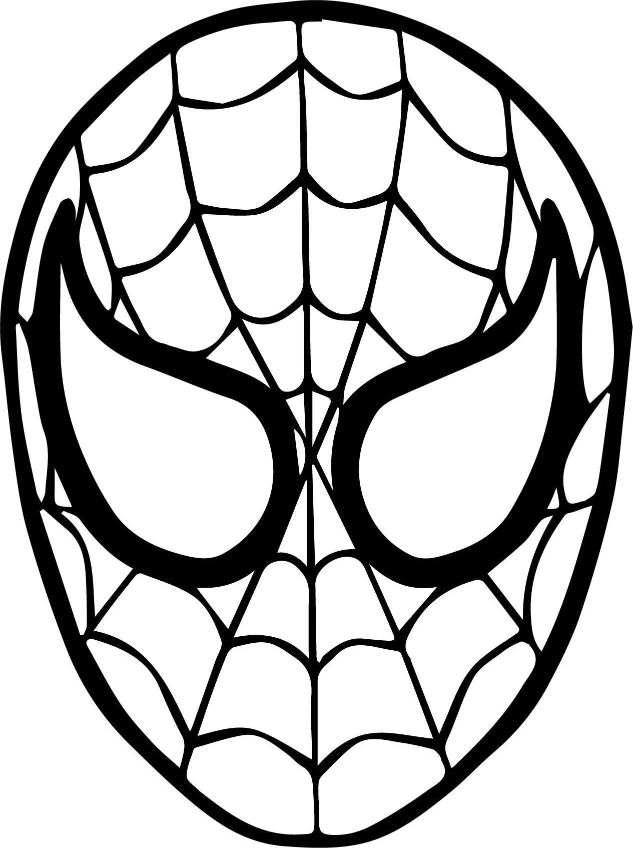 Spider man mask face coloring page for Spiderman coloring book pages