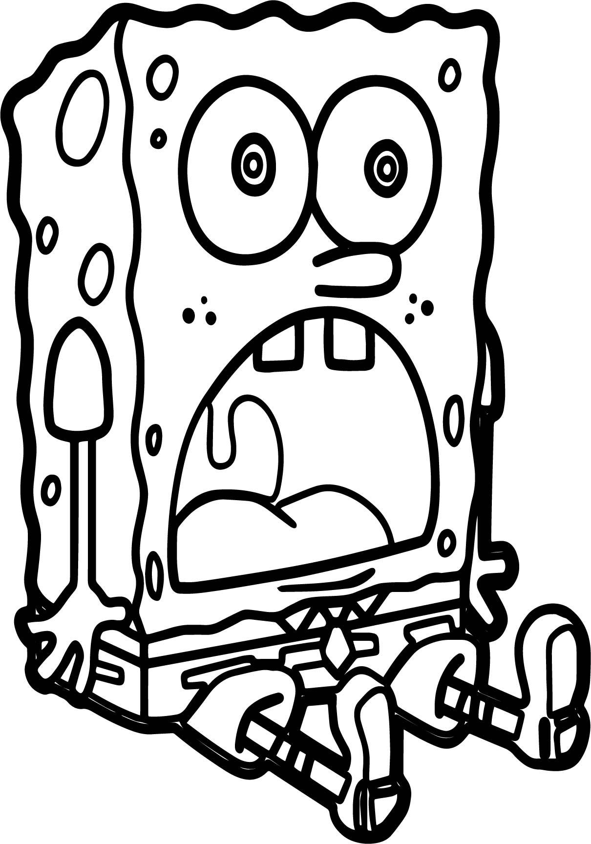 Sponge Bob Confused Coloring Page