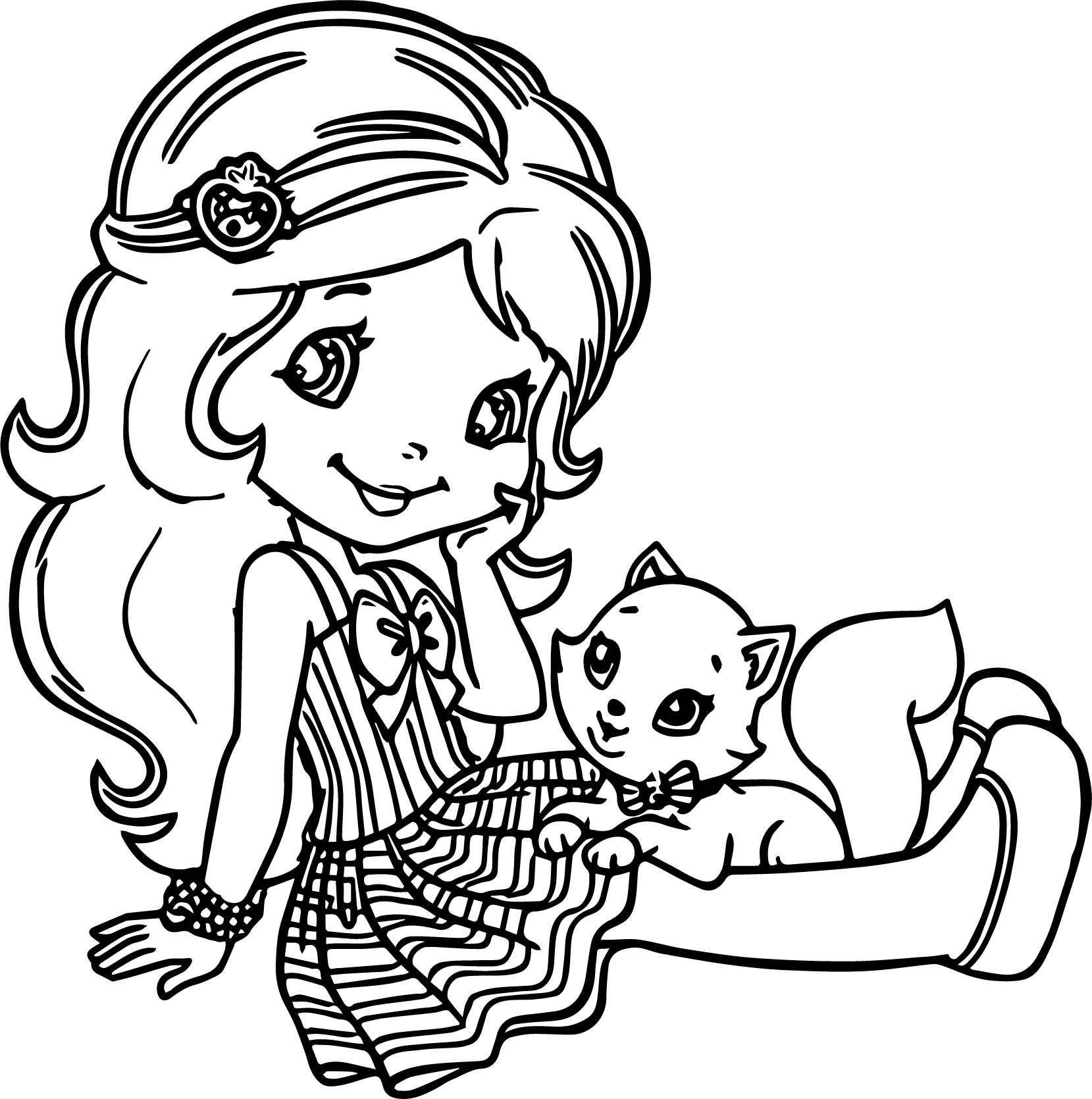 Strawberry Shortcake And Cat Coloring Page