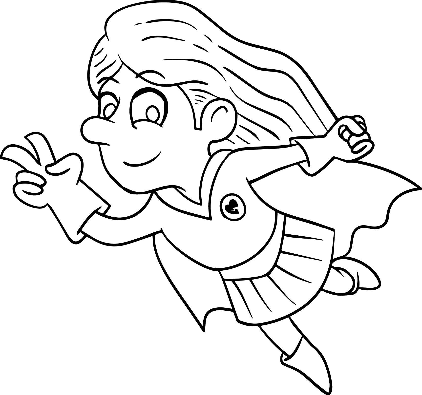 Superheroes Kid Girl Coloring Page