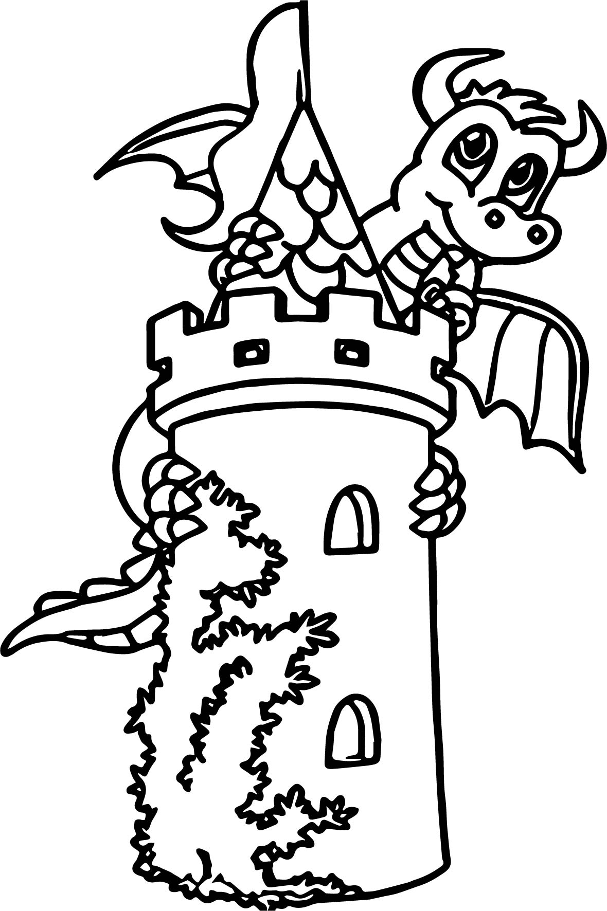 The Dragon Around Tower Coloring Page