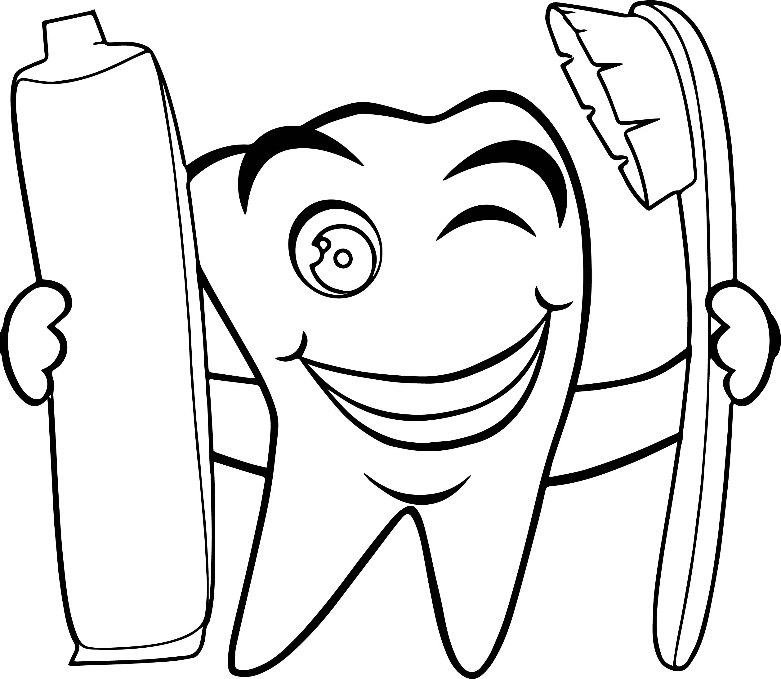 Tooth Paste Dental Coloring Page