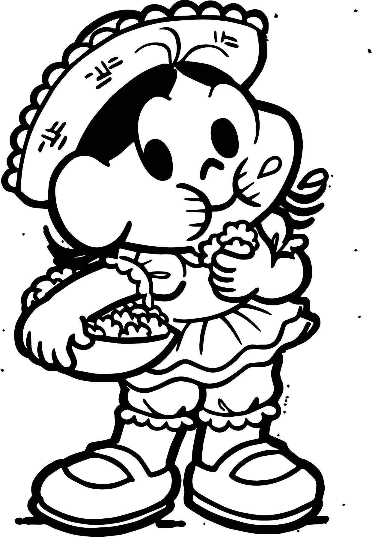 Turma Da Monica Girl Eat Food Coloring Page