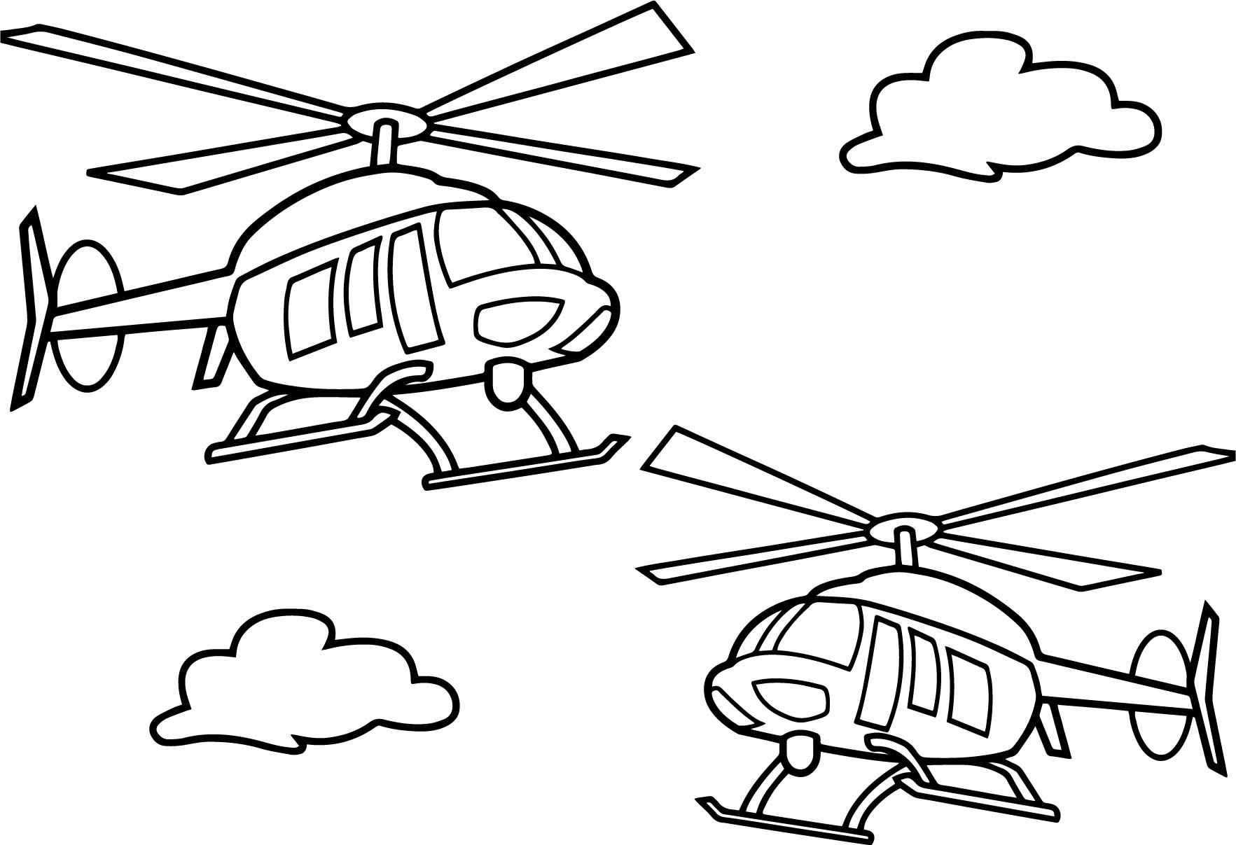 Two Helicopter Coloring Page