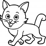 Walking Cat Coloring Page