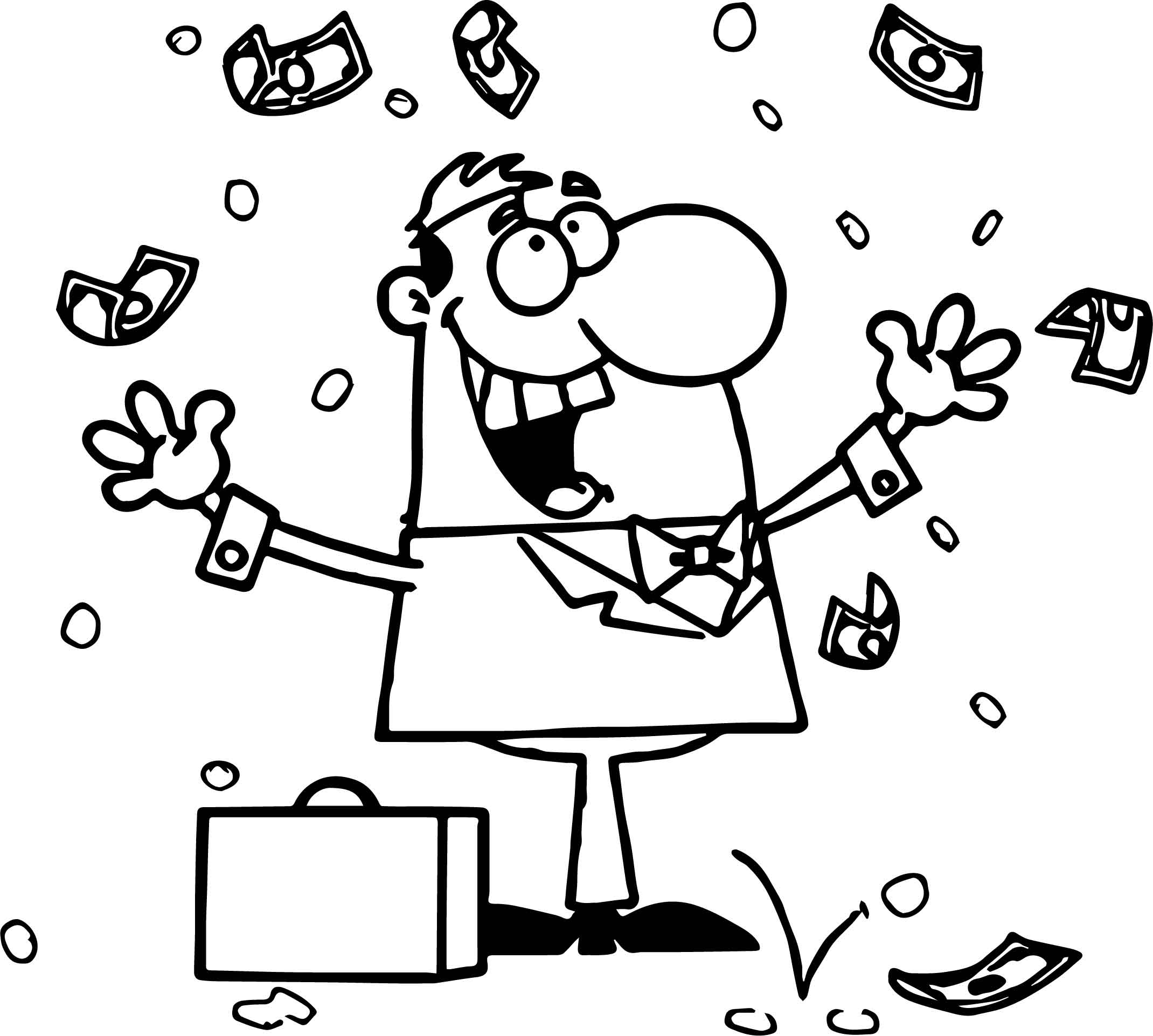 wealthy business man money coloring page