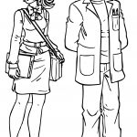 Woman Teacher Monica And Man Teacher Coloring Page