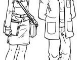 Woman Teacher Monica And Man Teacher Coloring Page
