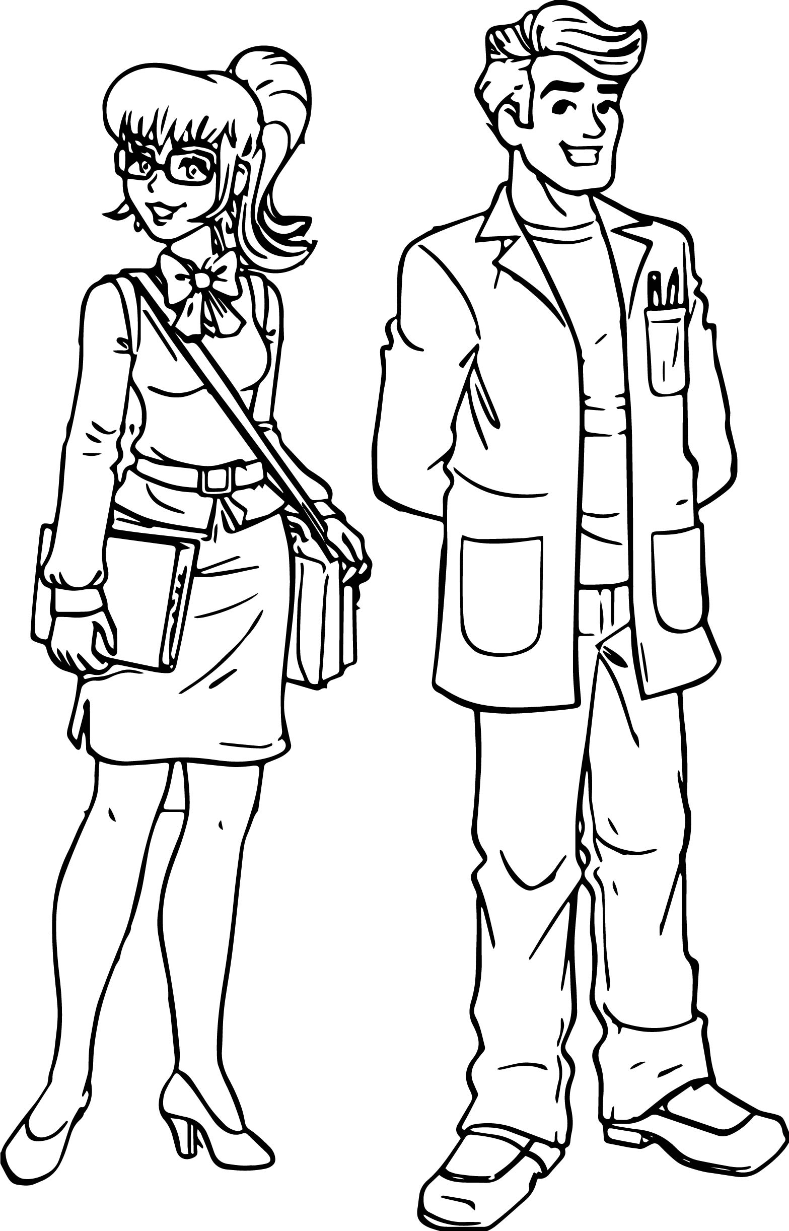 woman teacher monica and man teacher coloring page wecoloringpage
