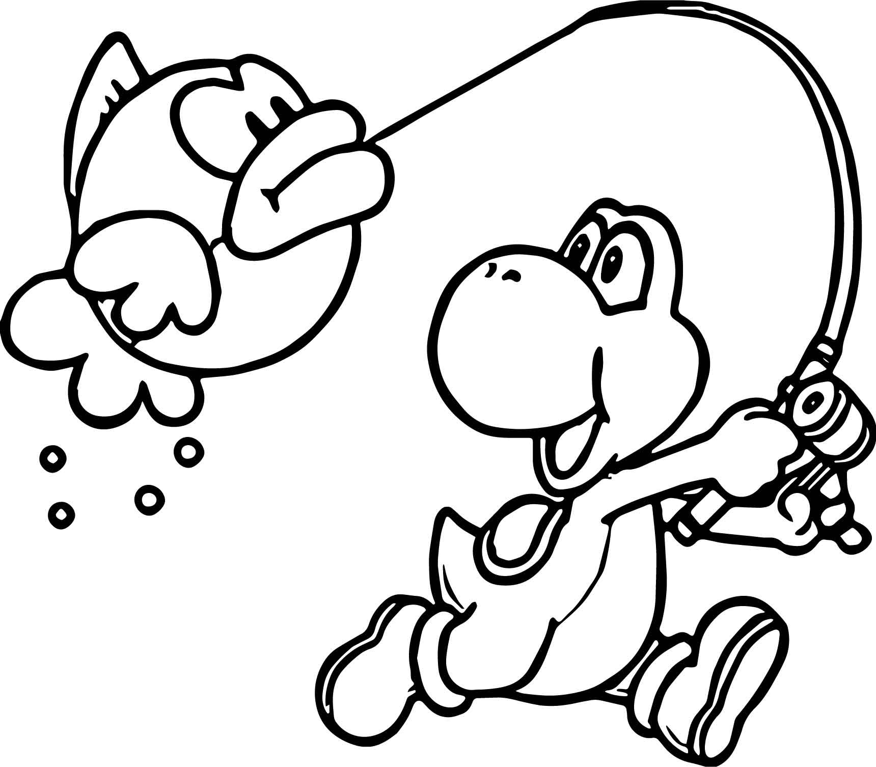 Yoshi Nintendo Catch Fish Coloring Page