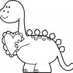 Dinosaur Valentine Coloring Page