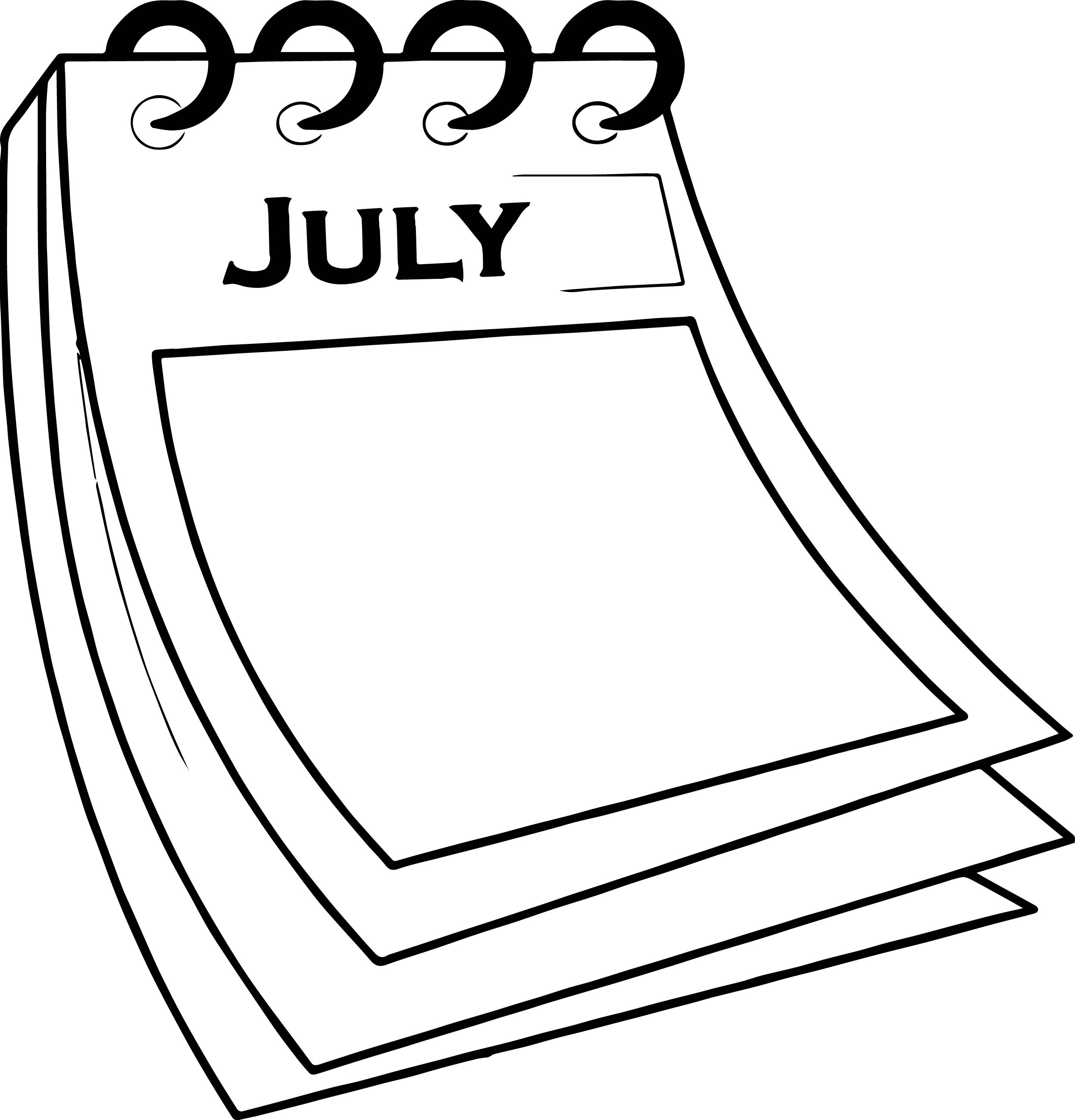4th of july calendar paper coloring page - Coloring Paper