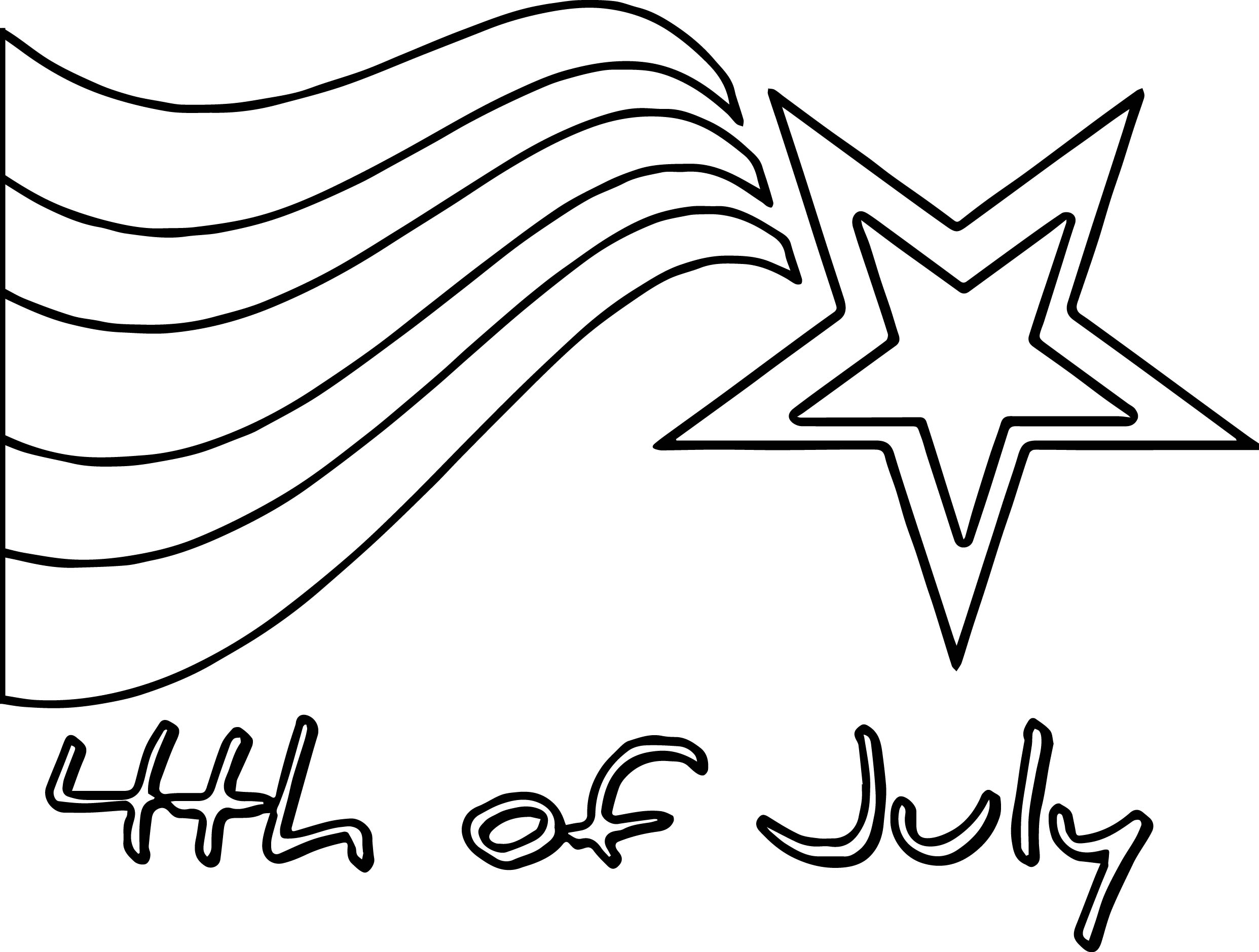4th of july star coloring page
