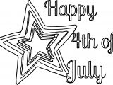 4th Of July Star Text Coloring Page