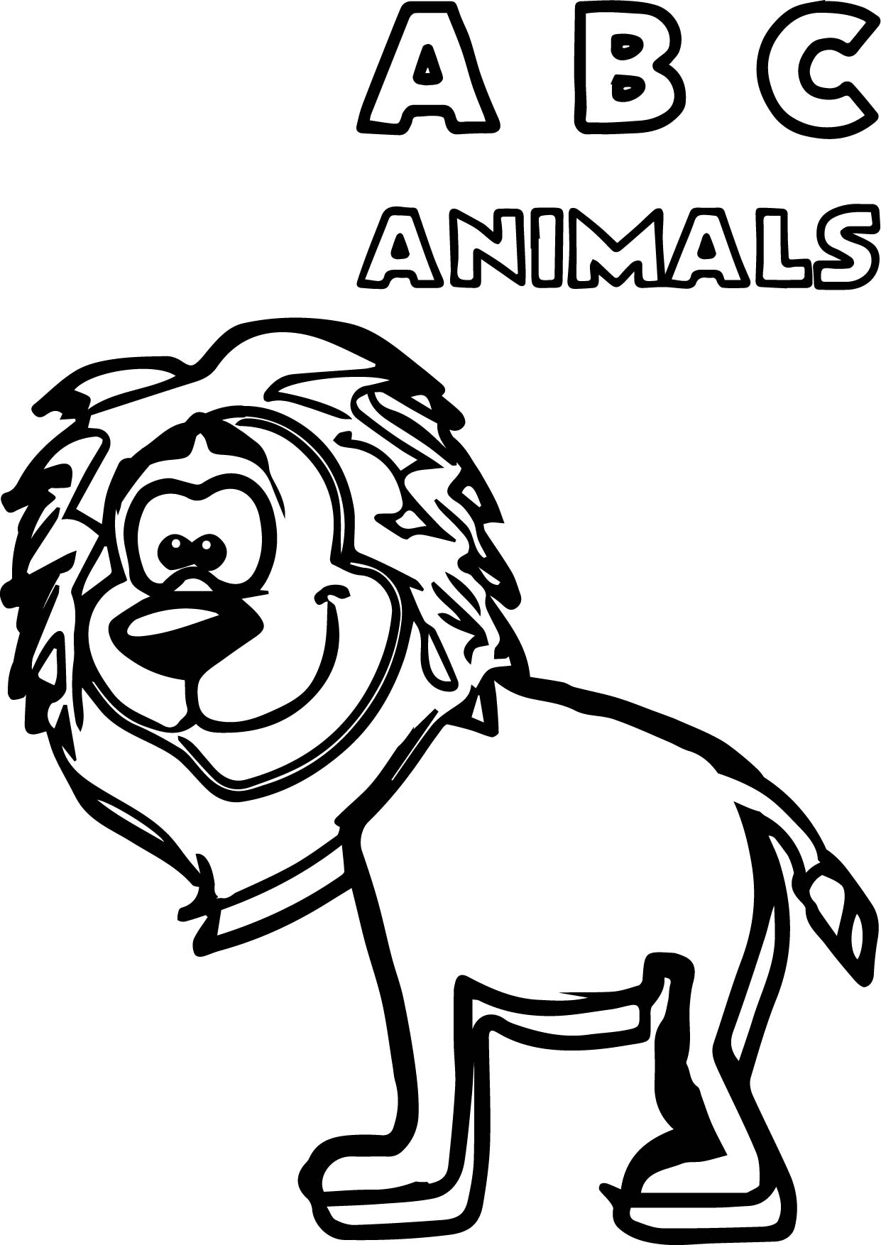 Abc Animals Lion Coloring Page