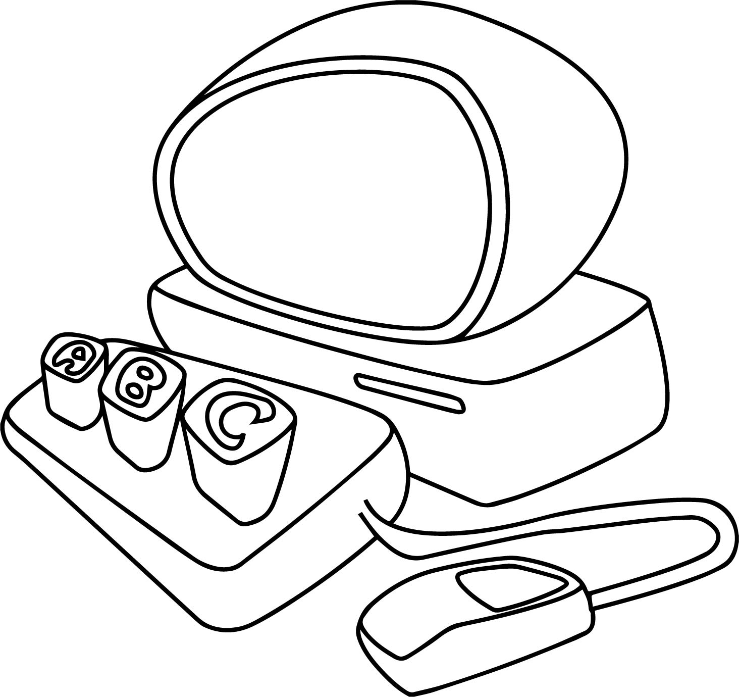 Abc Desktop Computer Coloring Page
