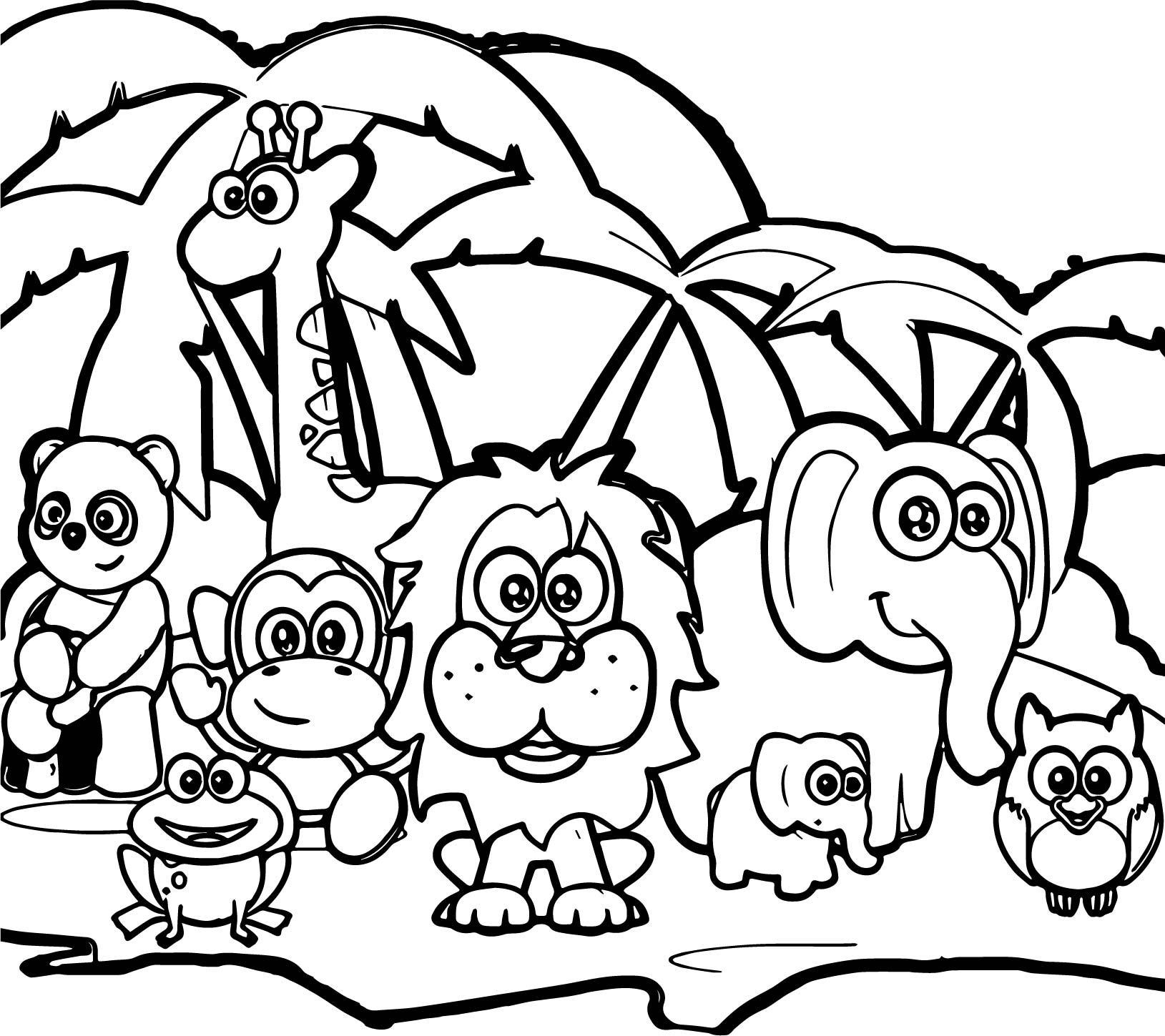 Abc forest animal coloring page for Animals coloring page