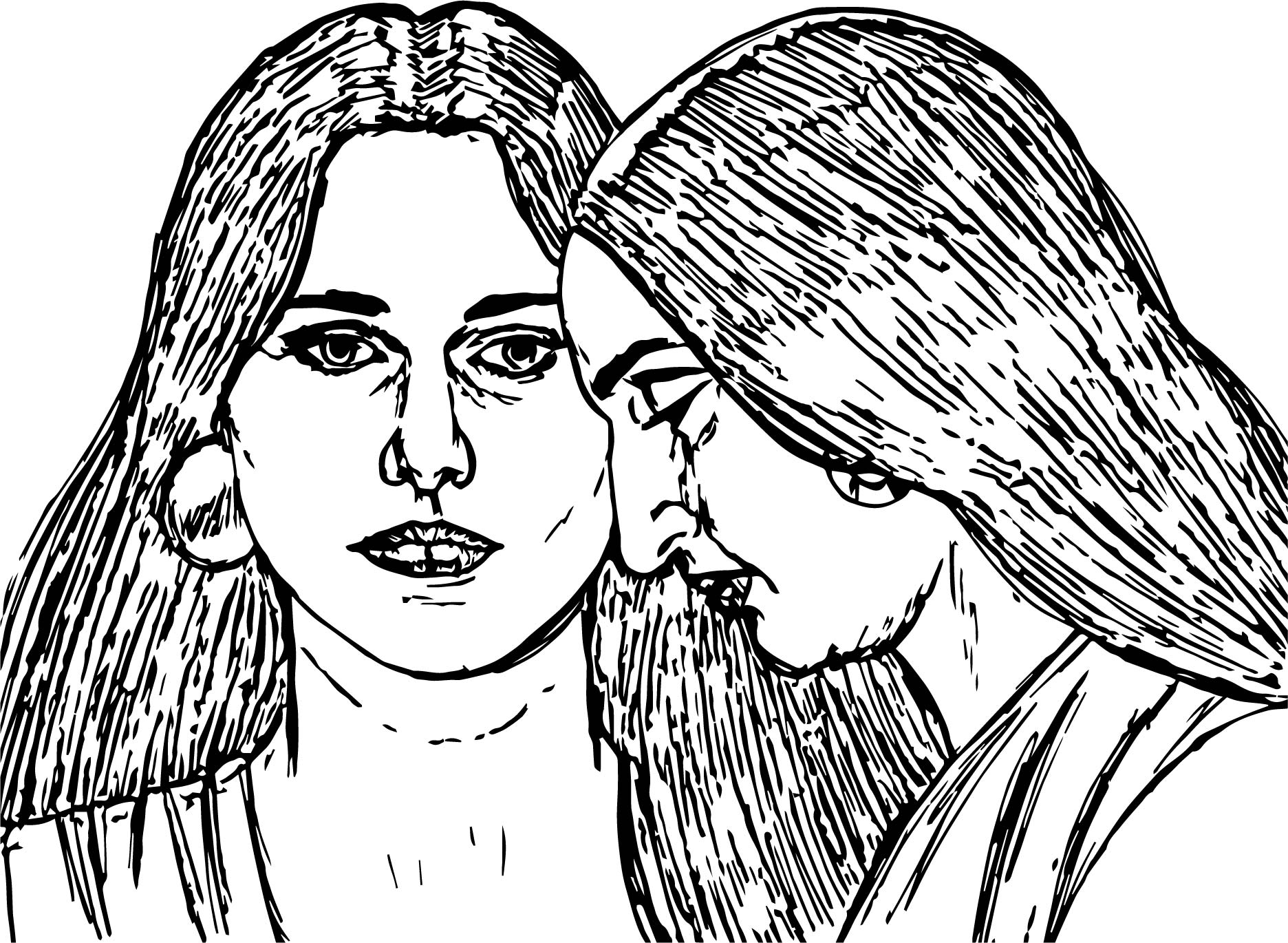 Abraham And Sarah Woman Sketch Coloring Page
