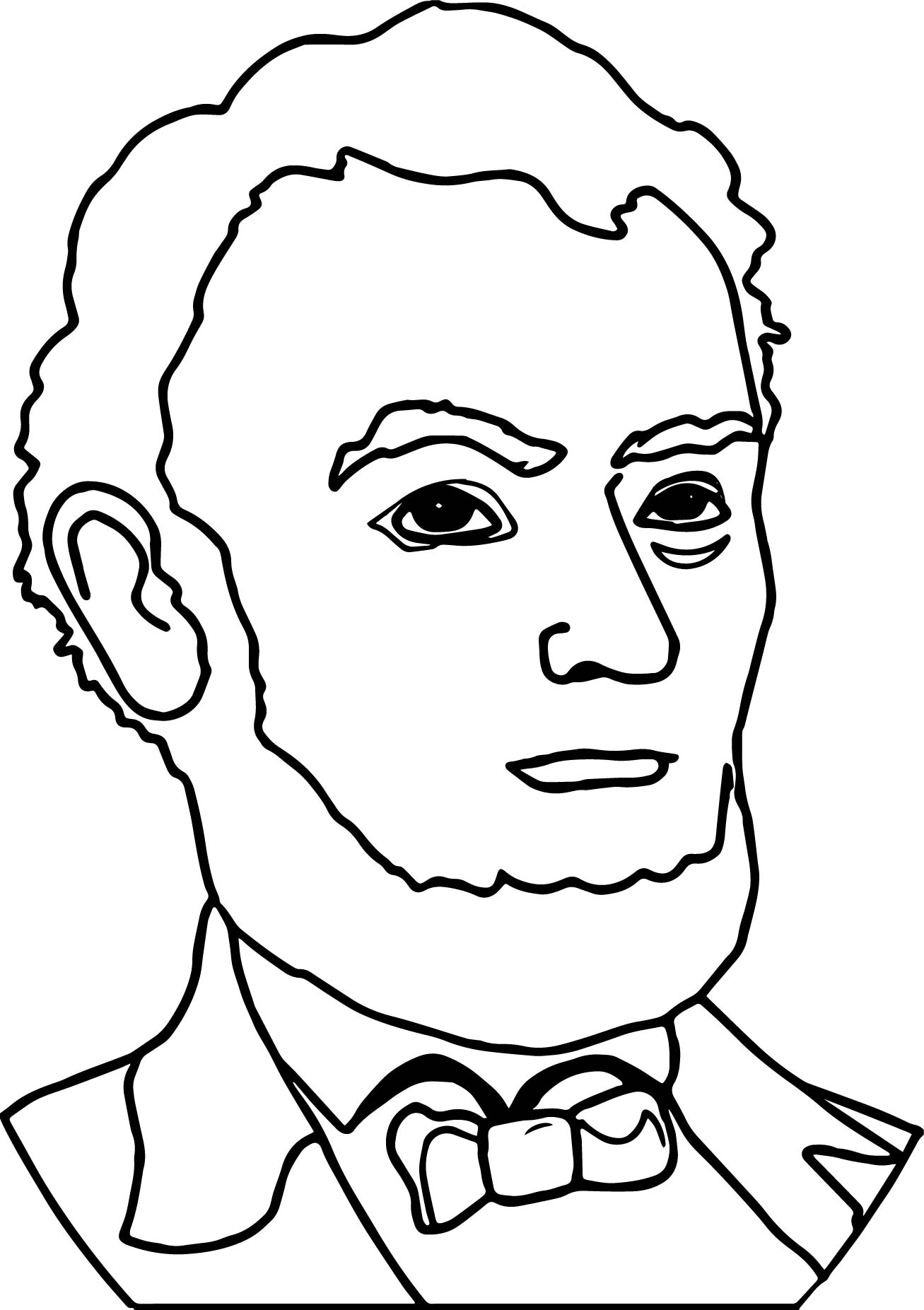 Abraham Lincoln President Line Coloring Page