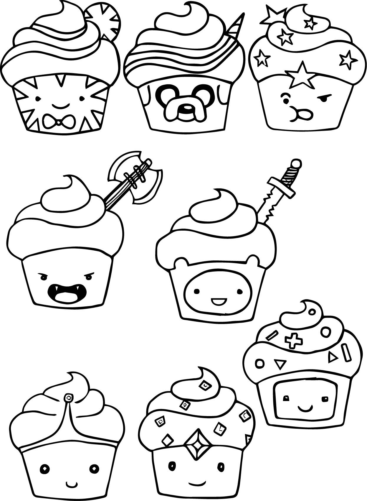 adventure time cupcake coloring pages wecoloringpage