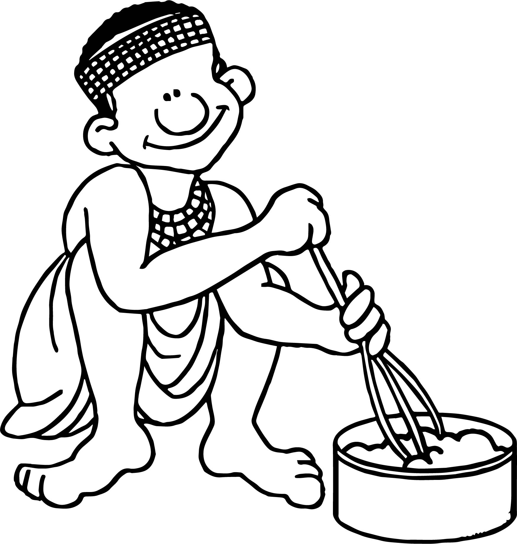 African San Cooking Coloring Page