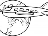 Airplane Travel Around Globe Coloring Page
