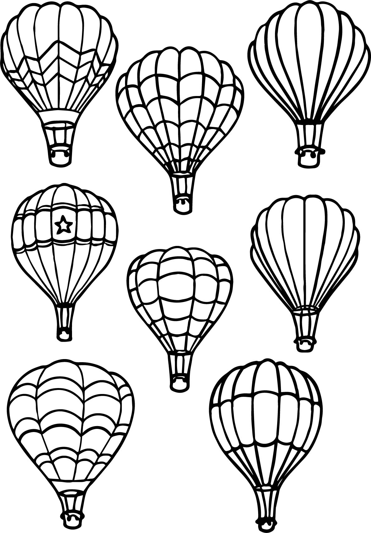 All Air Balloon Coloring Page Wecoloringpage