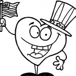 American Flag Heart Character Coloring Page