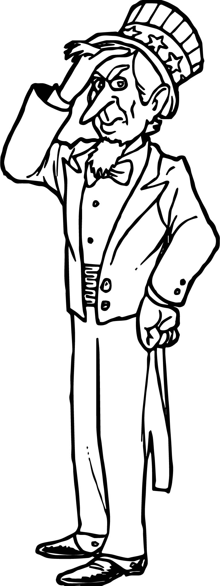 uncle coloring page - american revolution uncle sam cartoon patriotic coloring
