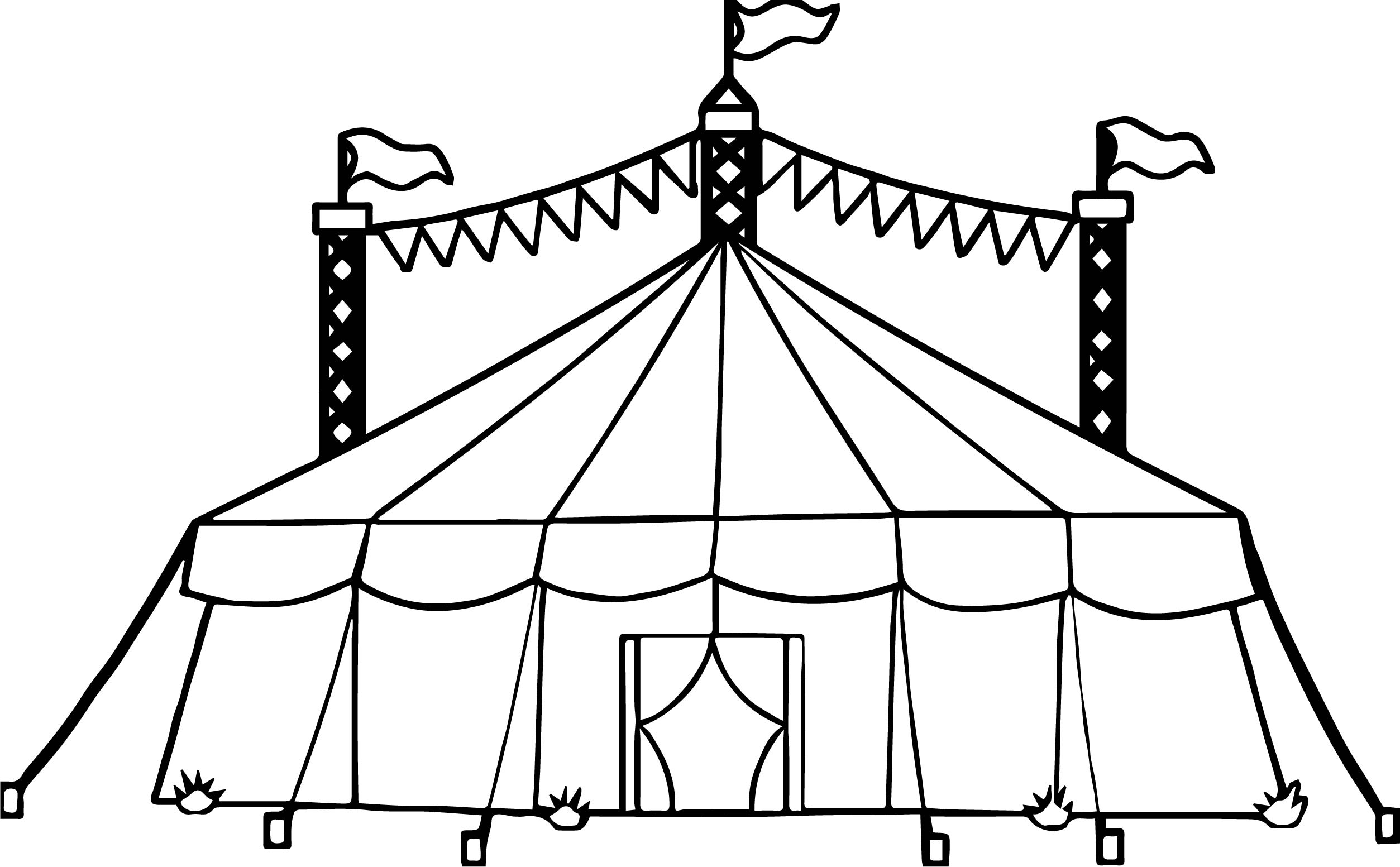 Amusement circus tent coloring page for Printable circus coloring pages