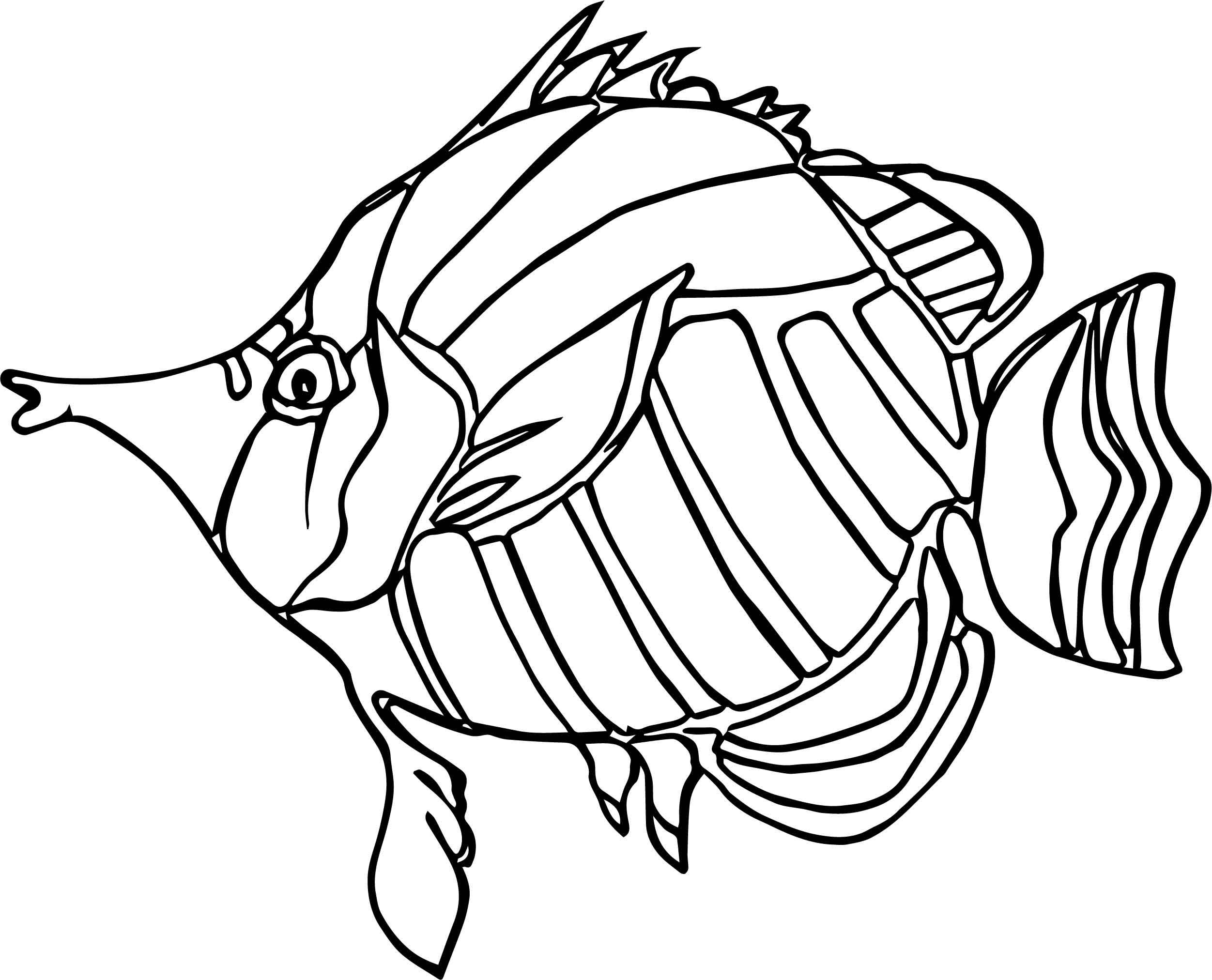 Butterfly fish angelfish from coloring page of angel fish for Printable fish coloring pages