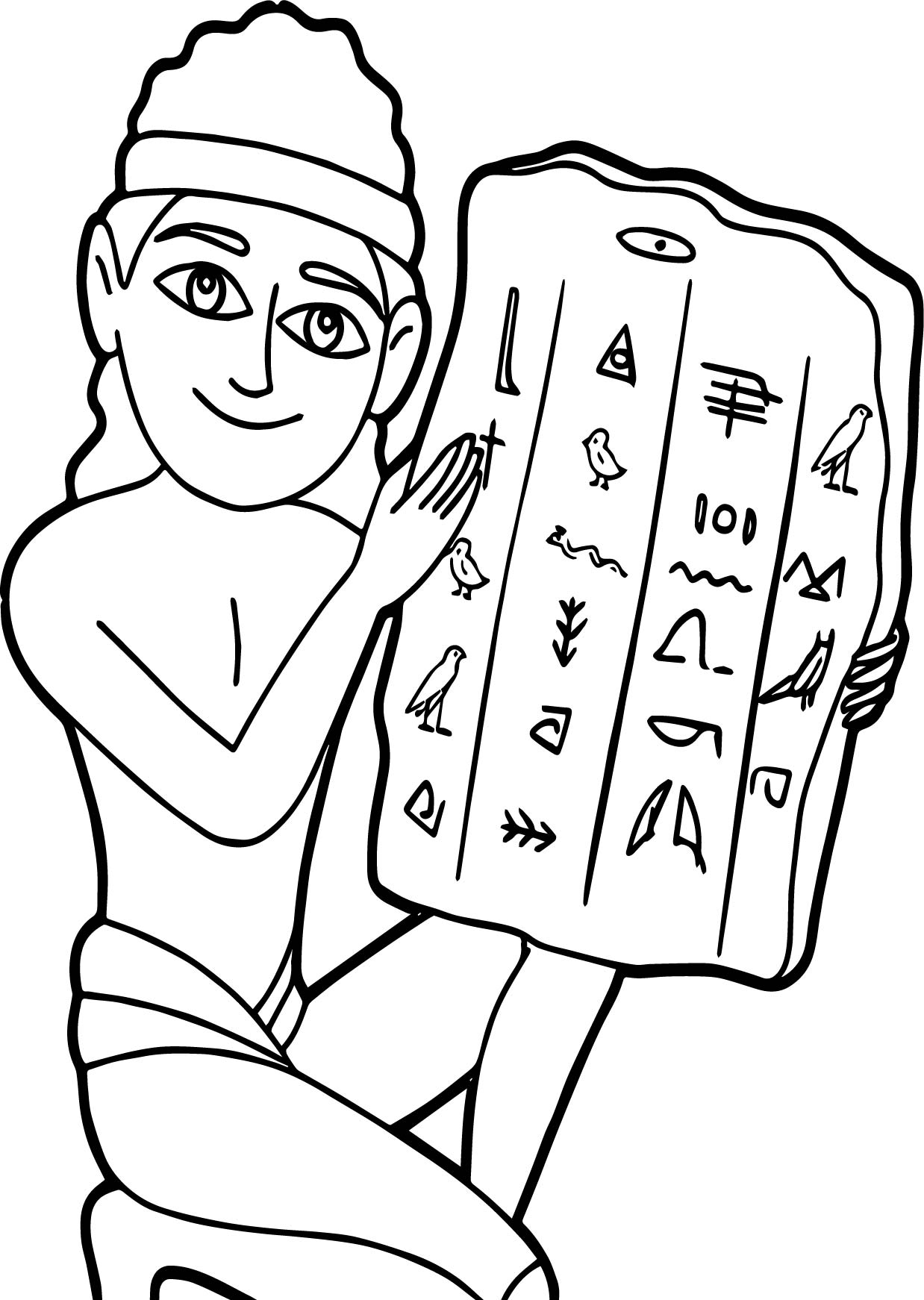 Ancient Egyptian With Hieroglyphic Tablet Coloring Page